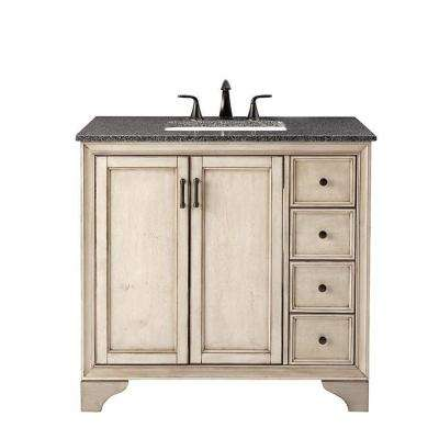 Hazelton 37 in. W x 22 in. D Bath Vanity in Antique Grey with Granite Vanity Top in Dark Grey