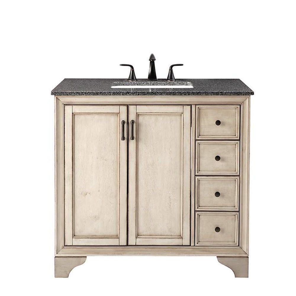 Hazelton 37 in. W x 22 in. D Bath Vanity in Antique Grey with Granite Vanity Top in Dark Grey