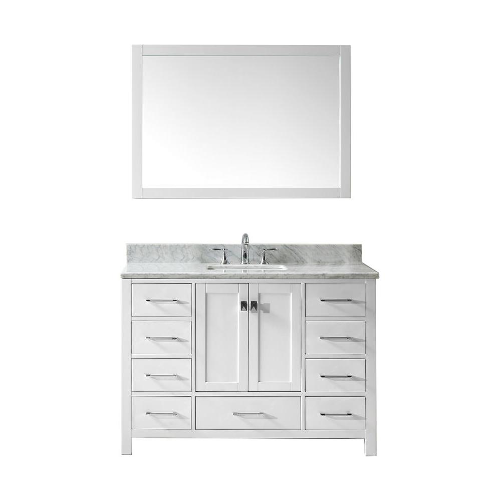 Virtu USA Caroline Avenue 48 in. W x 36 in. H Vanity with Marble Vanity Top in Carrara White with White Square Basin and Mirror
