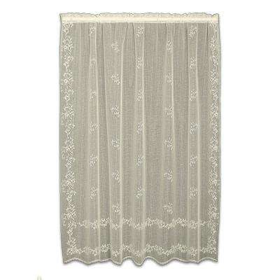 Sheer Divine Ecru Lace Curtain 60 in. W x 63 in. L