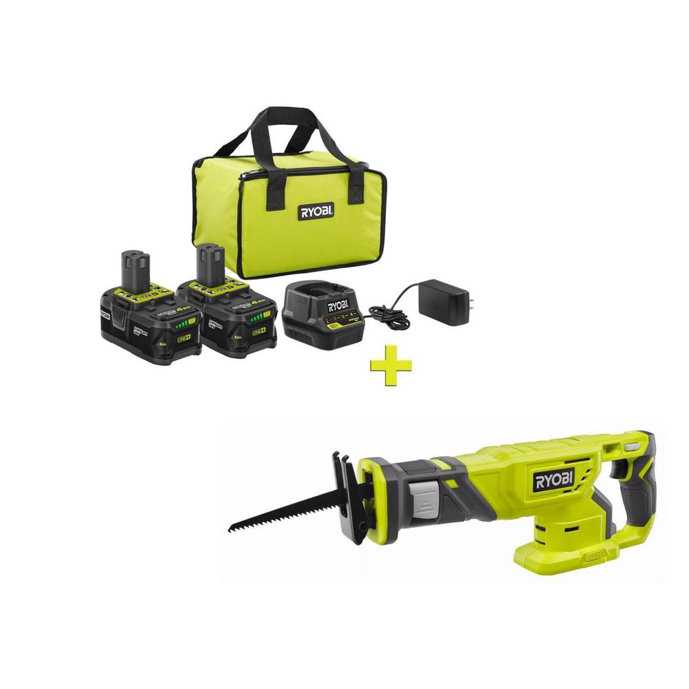 RYOBI 18-Volt ONE+ High Capacity 4.0 Ah Battery (2-Pack) Starter Kit with Charger and Bag with FREE ONE+ Reciprocating Saw was $301.0 now $99.0 (67.0% off)