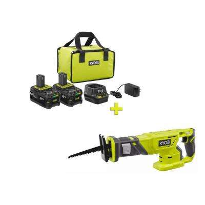 18-Volt ONE+ High Capacity 4.0 Ah Battery (2-Pack) Starter Kit with Charger and Bag with FREE ONE+ Reciprocating Saw