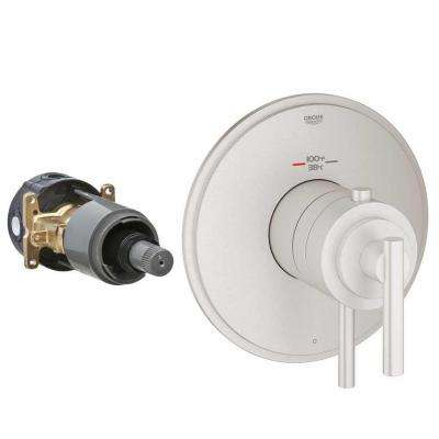 Timeless 2-Handle GrohFlex Universal Rough-In Box Single Function Thermostatic Kit in Brushed Nickel