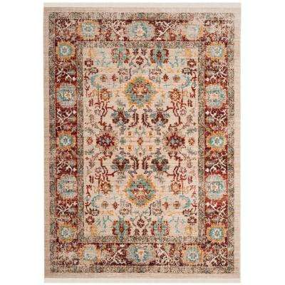 Sutton Ivory/Brick 5 ft. x 7 ft. Area Rug