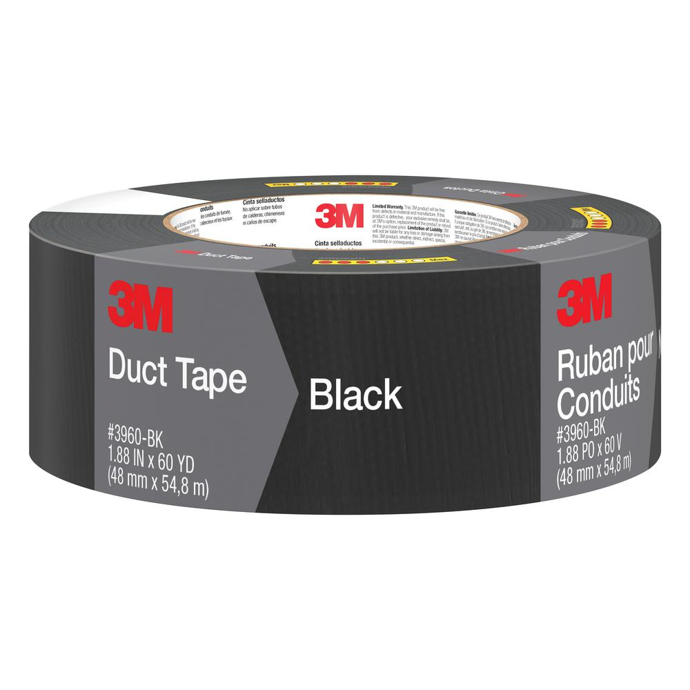 3m 1 88 In X 60 Yds Black Duct Tape 3960 Bk The Home Depot