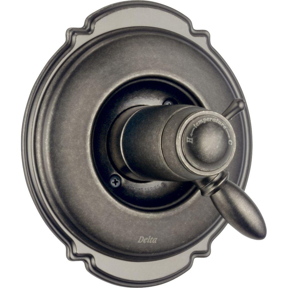 Delta Victorian 1-Handle Thermostatic Diverter Valve Trim Kit in Aged Pewter (Valve Not Included)-DISCONTINUED