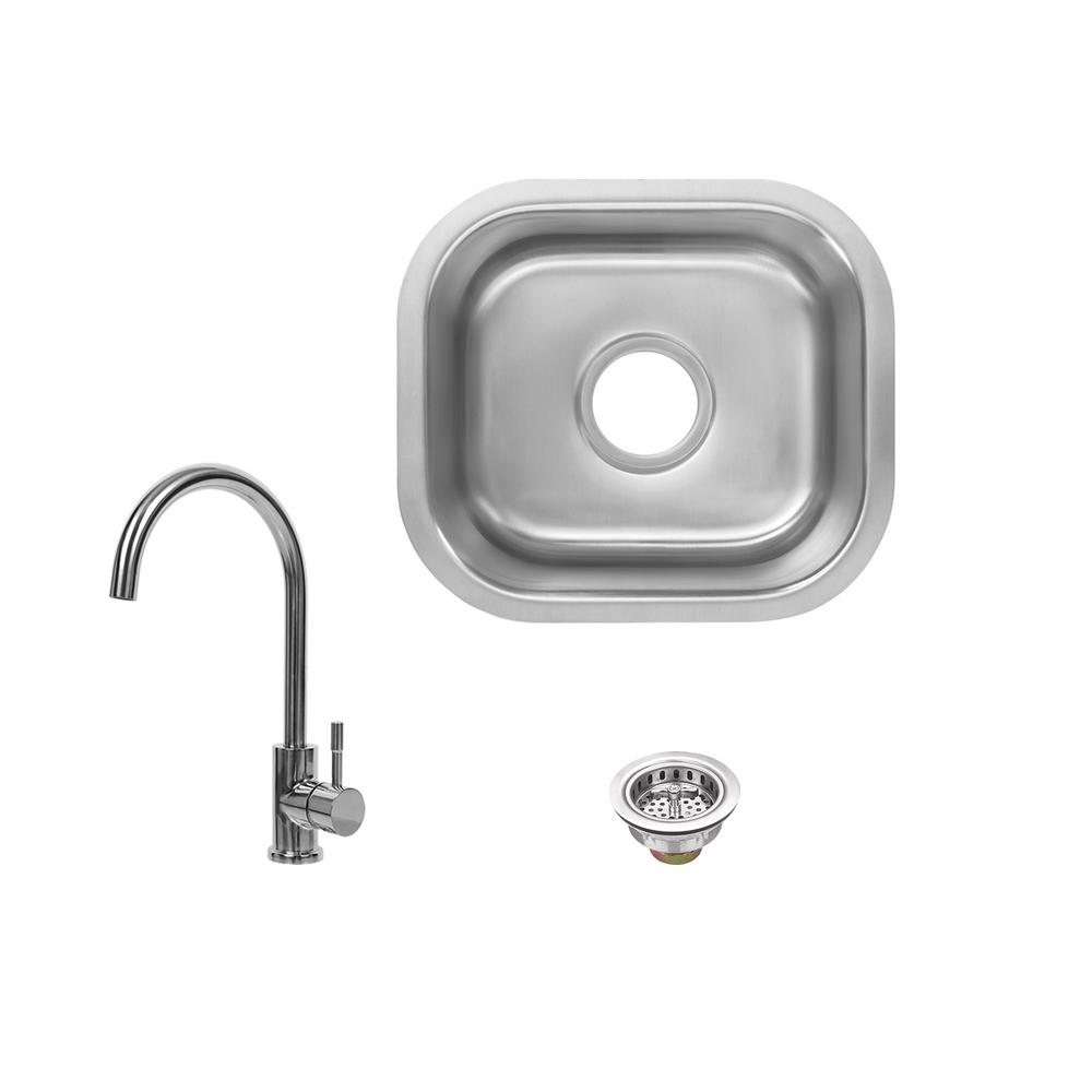 All-in-1 Undermount 18-Gauge Stainless Steel 15 in. 0-Hole Single Bowl Bar