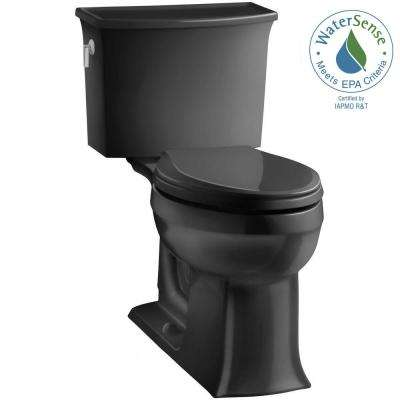 Archer Comfort Height 2-piece 1.28 GPF Single Flush Elongated Toilet with AquaPiston Flushing Technology in Black Black
