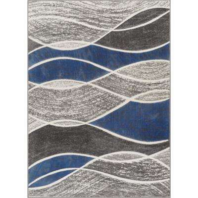 Siggi Affection 7 ft. 10 in. x 9 ft. 10 in. Modern Abstract Waves Blue Area Rug