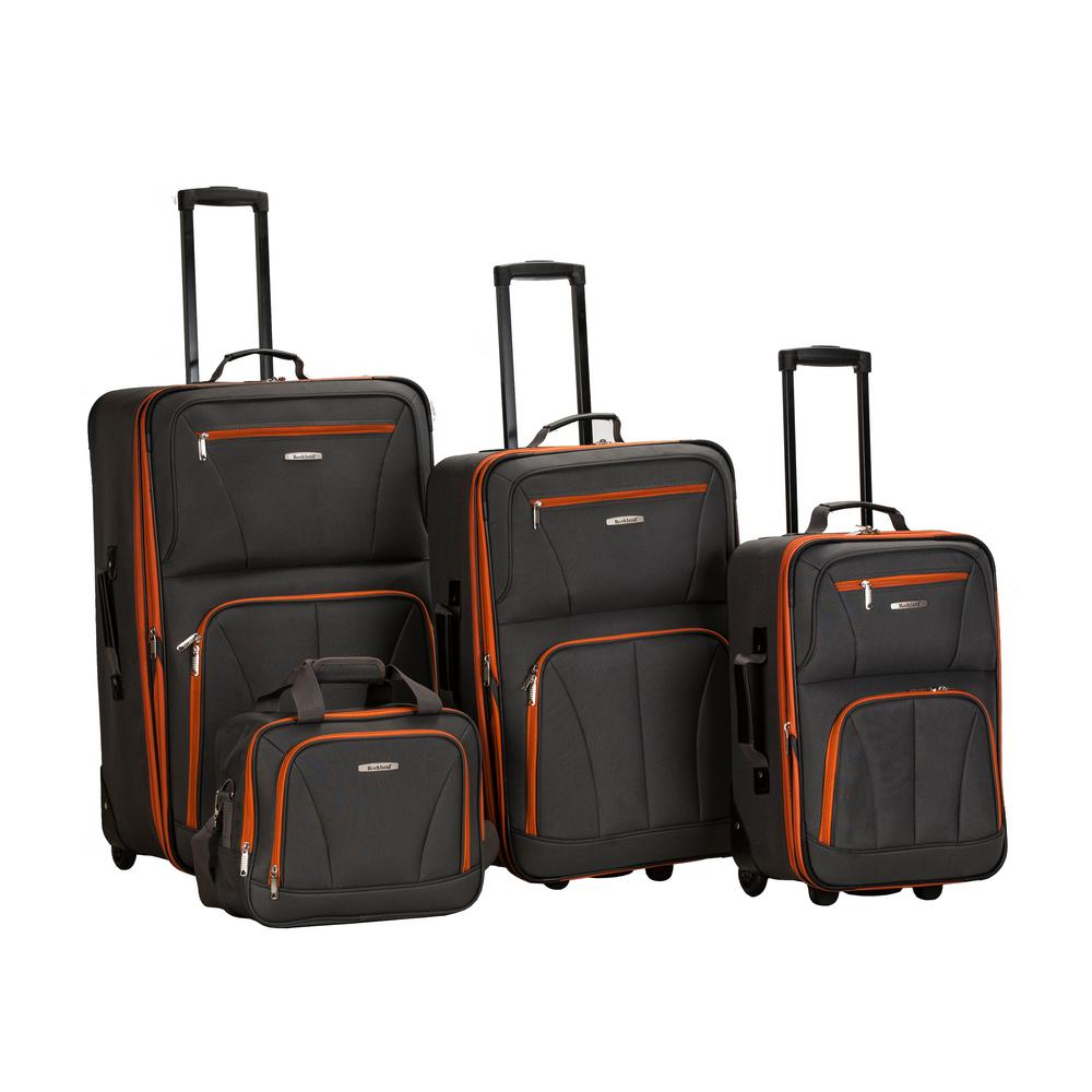 Rockland Rockland Sydney Collection Expandable 4-Piece Softside Luggage Set, Charcoal, Grey