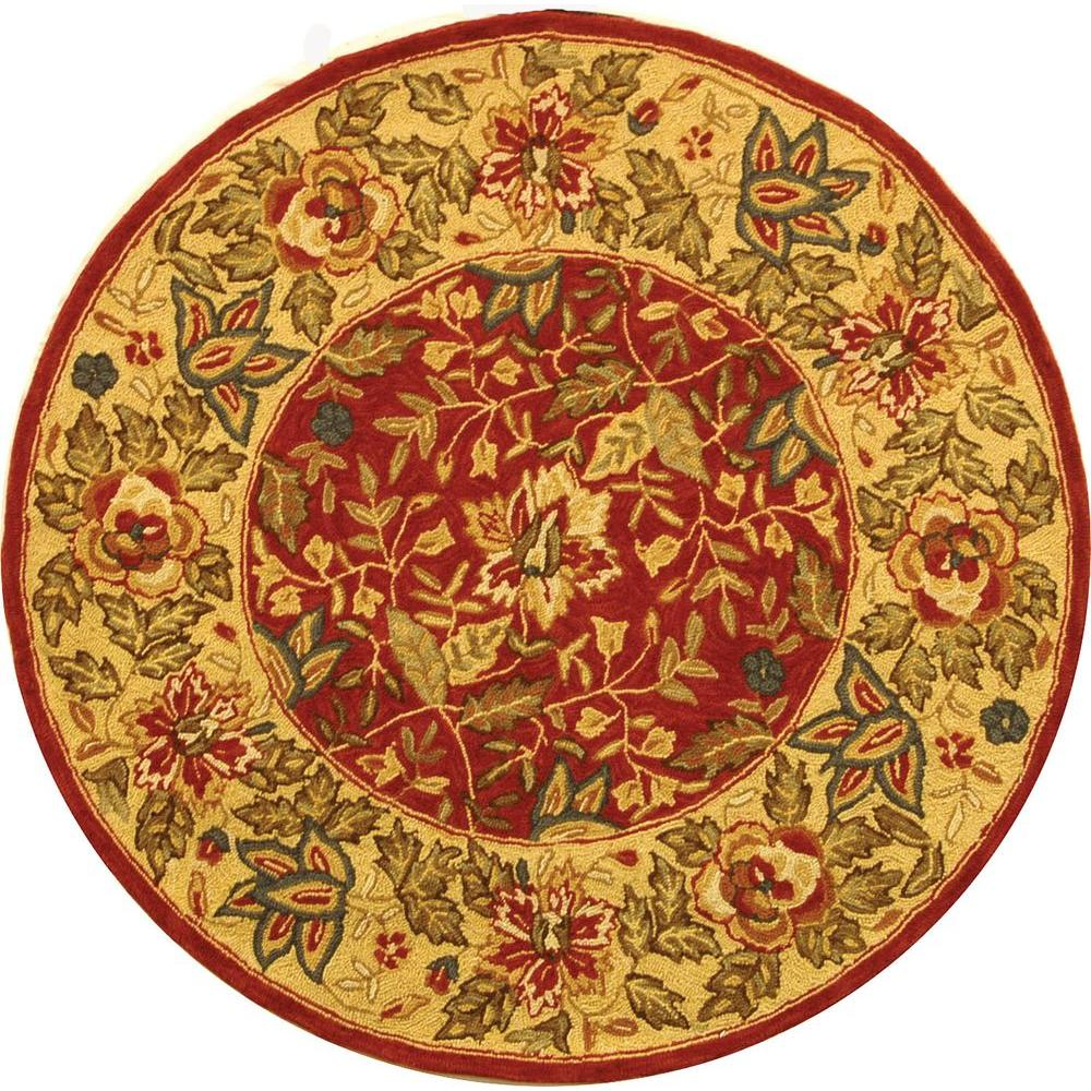 Safavieh Chelsea Red/Ivory 4 ft. x 4 ft. Round Area Rug
