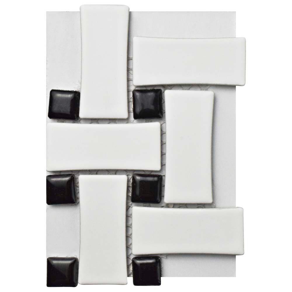 Merola Tile Metro Basket Weave Matte White and Black Porcelain ...