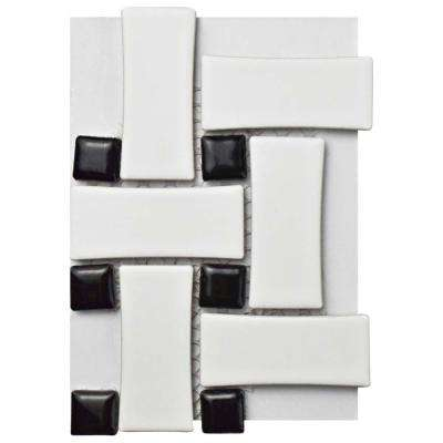 Metro Basket Weave Matte White and Black Porcelain Mosaic Tile - 3 in. x 4 in. Tile Sample