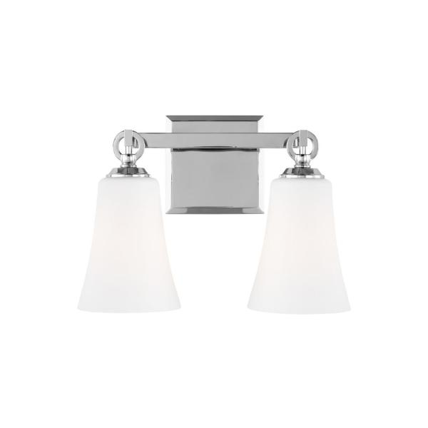 Monterro 13.5 in. W. 2-Light Chrome Vanity Light with White Opal Etched Glass Shades