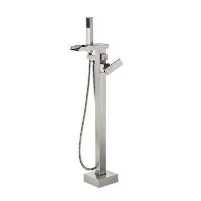 Infinity Single Handle Floor Mount Roman Tub Faucet with Hand Shower in Brushed Nickel