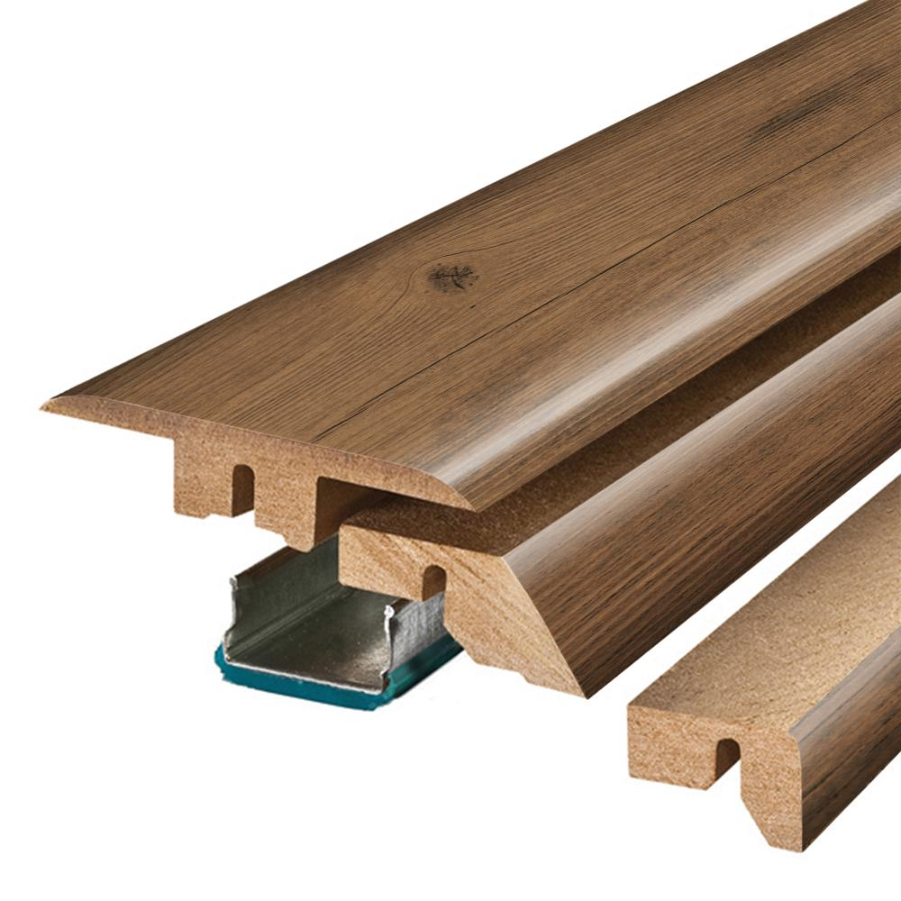 Pergo Balcony Brown Wood 3/4 in. Thick x 2-1/8 in. Wide x 78-3/4 in. Length Laminate 4-in-1 Molding