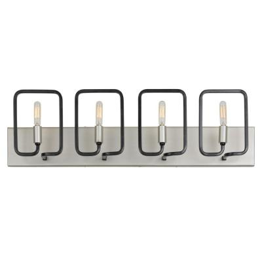 Rectangulo 4-Light Silverado and Black Bath Light
