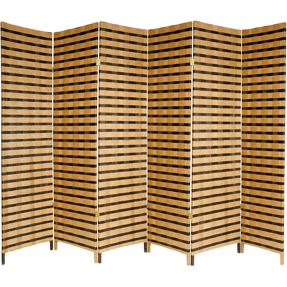 6 Ft. 2 Tone Natural Fiber 6 Panel Room Divider