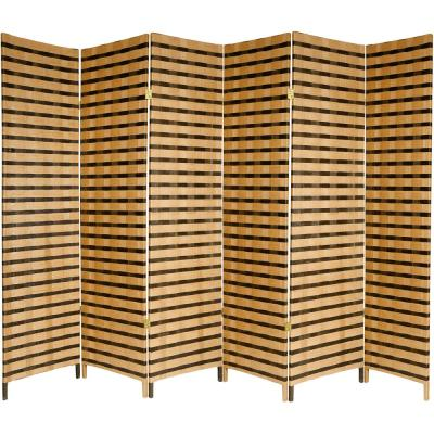 6 ft. 2-Tone Natural Fiber 6-Panel Room Divider