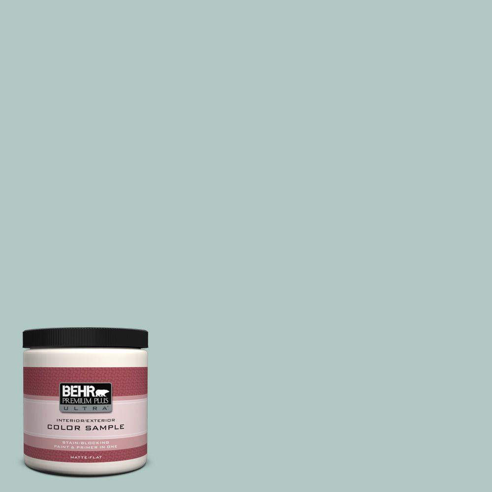 BEHR Premium Plus Ultra 8 oz. #480E-3 Marina Isle Flat Interior/Exterior Paint and Primer in One Sample