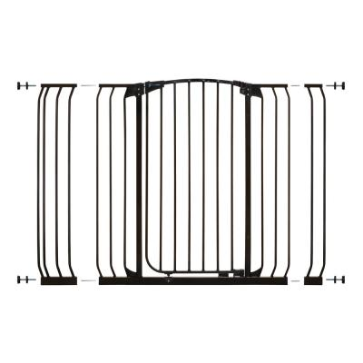 Chelsea 39.4 in. H Extra Tall and Extra Wide Auto-Close Security Gate in Black with Extensions