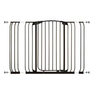 Chelsea 40 in. H Extra Tall and Extra Wide Auto-Close Security Gate in Black with Extensions