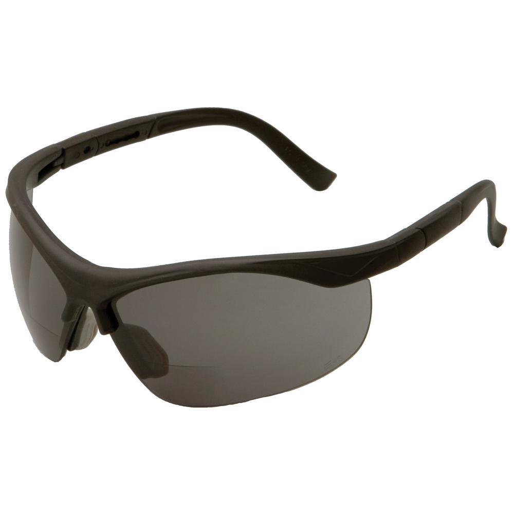 e60c3292020a ERB 1.5 Power X Bifocal Black Frame and Gray Lens Safety Glasses ...