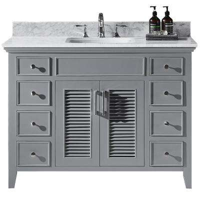 Elise 48 in. W x 22 in. D x 34.21 in. H Bath Vanity in Taupe Grey with Marble Vanity Top in White with White Basin
