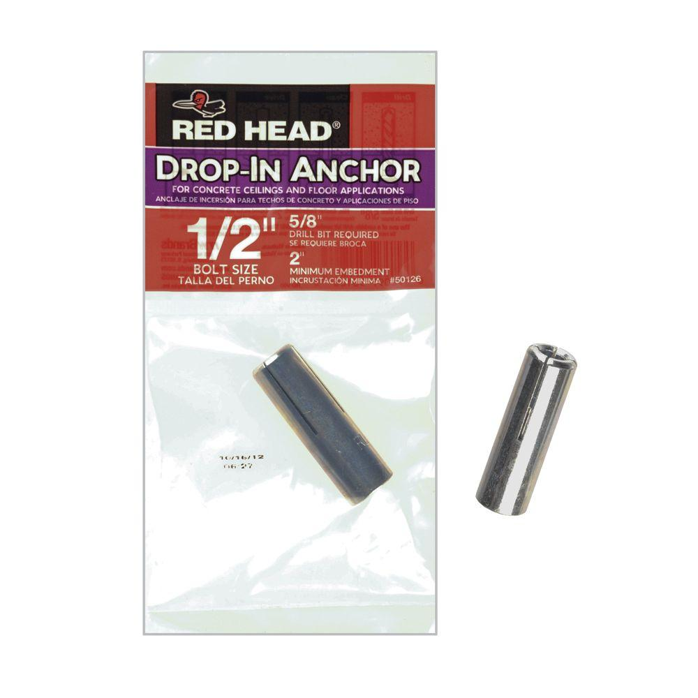 Red Head 1/2 in. x 2 in. Steel Concrete Drop-In Anchor
