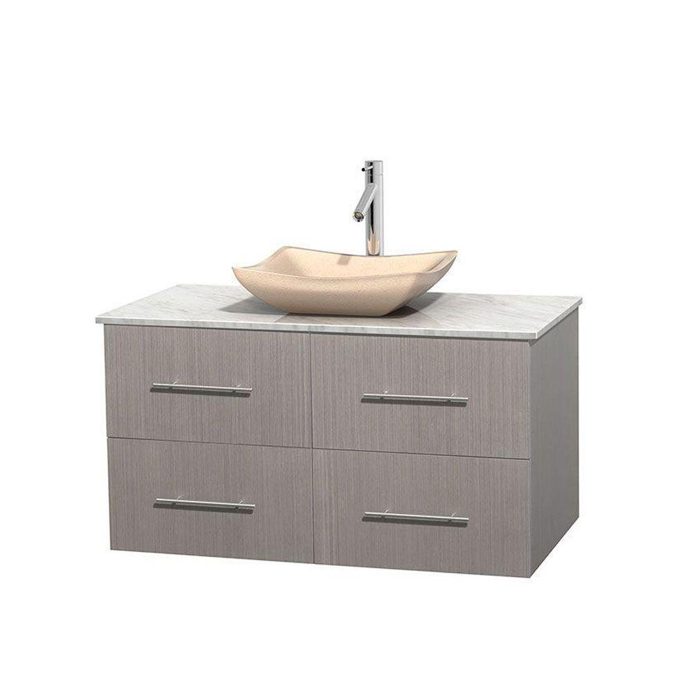 Vanity Gray Oak Marble Vanity Top White Sink