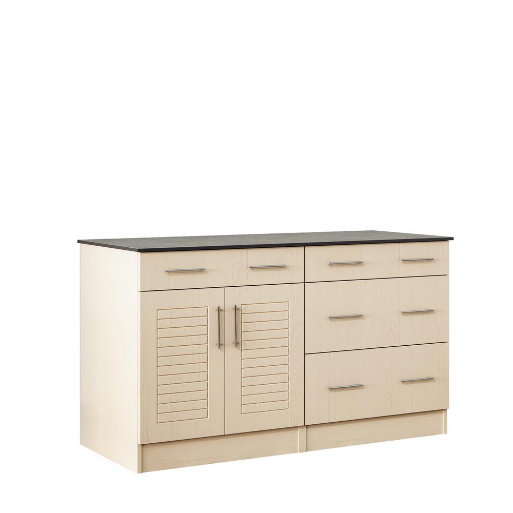 WeatherStrong Key West 59.5 in. Outdoor Cabinets with Countertop 2-Door and 2-Drawer in Sand