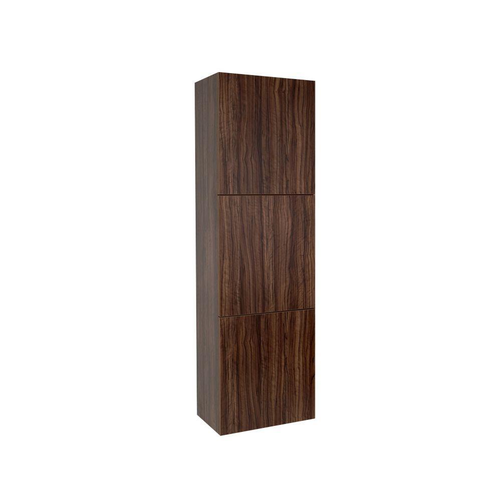 17-3/4 in. W x 59 in. H x 12 in. D 3-Door Bathroom Linen Storage Cabinet in Walnut