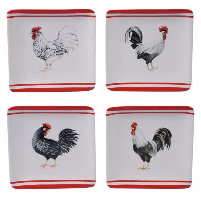 Homestead Rooster 4-Piece Multi-Colored 6 in. Canape Plate Set