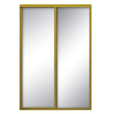 96 in. x 96 in. Concord Satin Gold Aluminum Framed Mirror Sliding Door