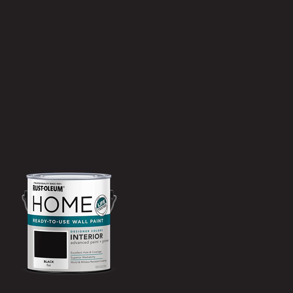 1 gal. Flat Black Interior Wall Paint (2-Pack)