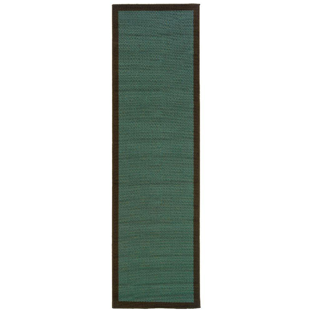 Oriental Weavers Nevis Boardwalk Blue and Chocolate 2 ft. 3 in. x 7 ft. 6 in. Runner