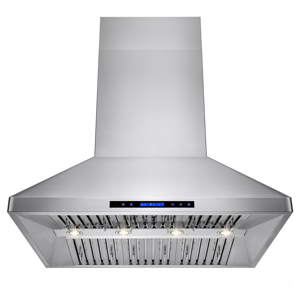 42 in. Dual Motor Kitchen Wall Mount Range Hood in Stainless