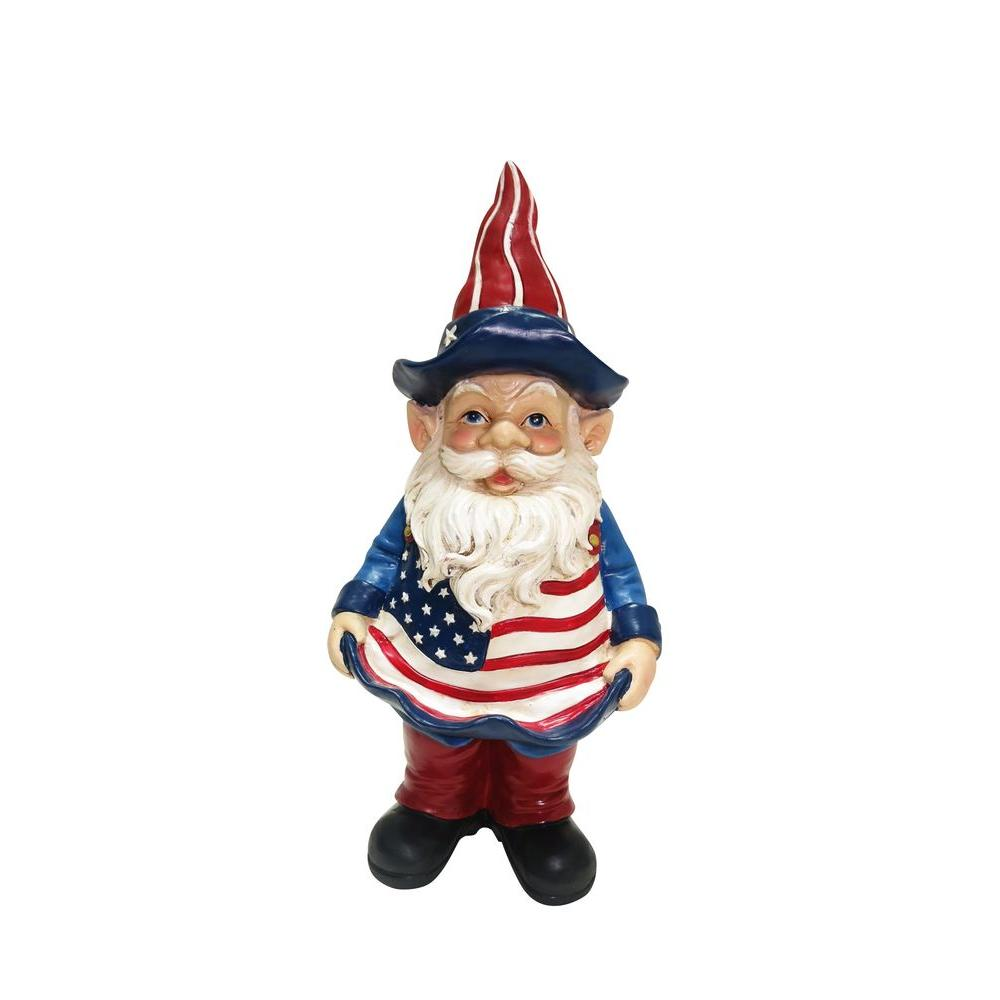 Alpine 12 in. Americana Gnome with Bird Feeder