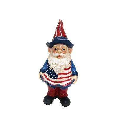 12 in. Americana Gnome with Bird Feeder