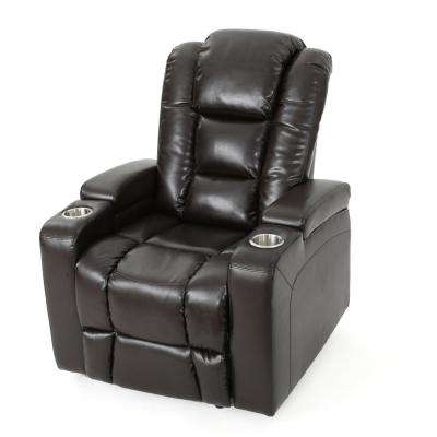 Emersyn Brown PU Leather Motor-Powered Recliner with Arm Storage and USB Port