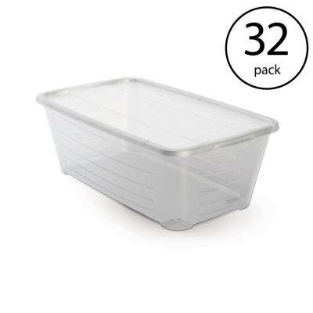 6 Qt. Rectangular Clear Plastic Protective Storage Shoe Box (32-Pack)
