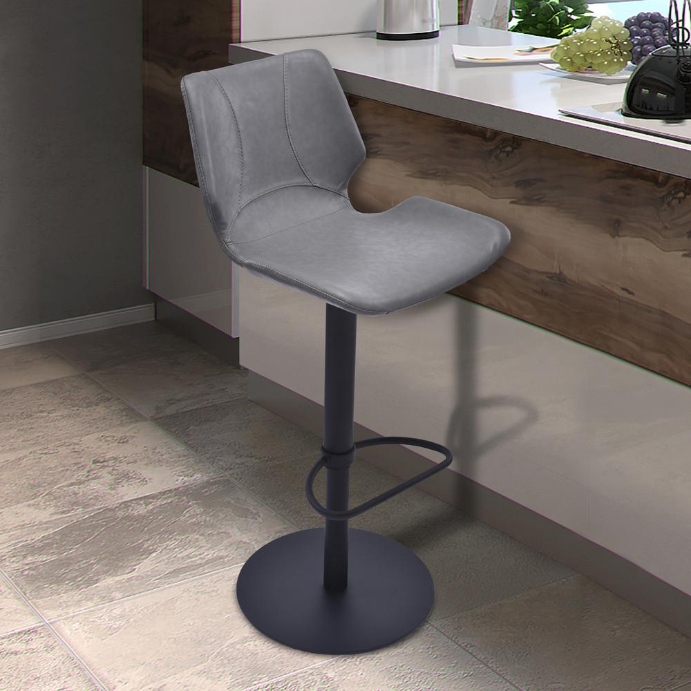 Armen Living Zuma 31 In. Vintage Gray Faux Leather And Black Metal Finish  Adjustable Swivel