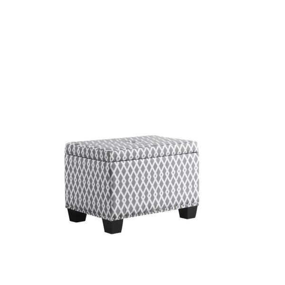 17 In Graywhite Diamond Storage Ottoman With 1 Storage Seating