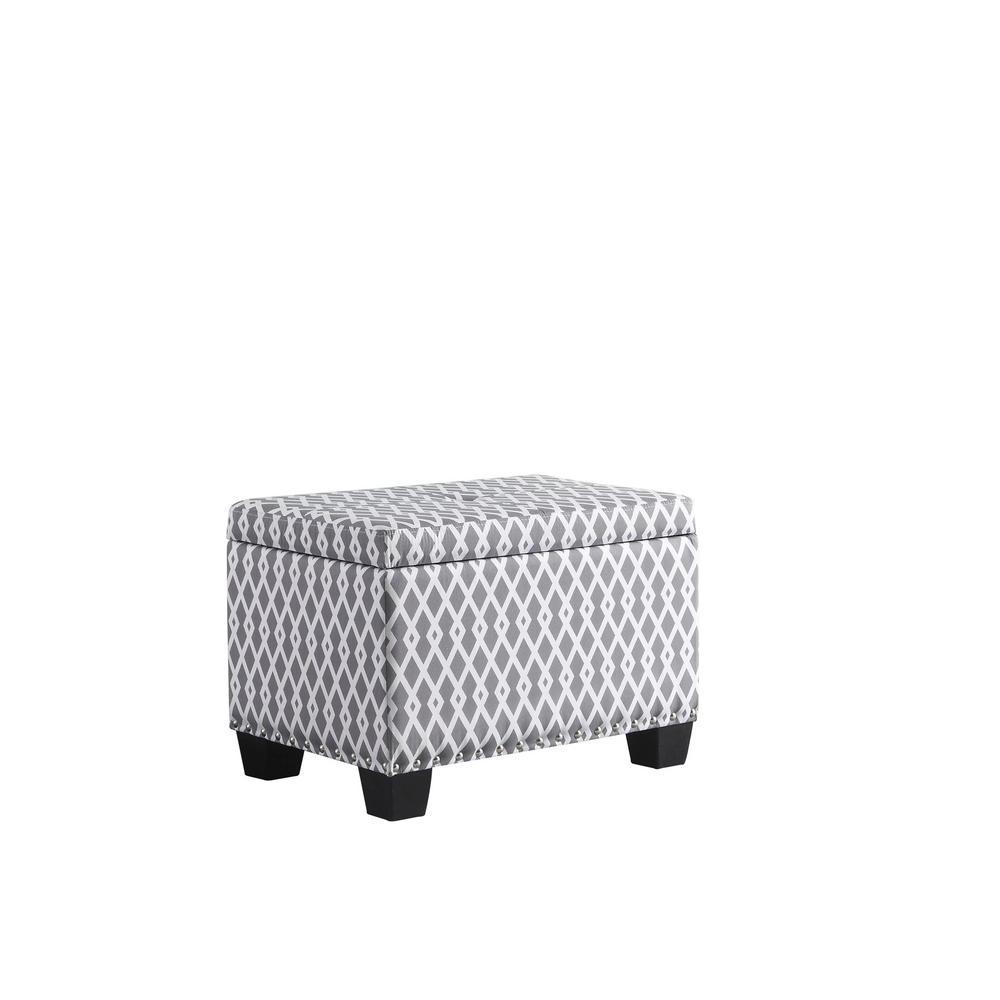 Gray/White Diamond Storage Ottoman With 1 Storage Seating