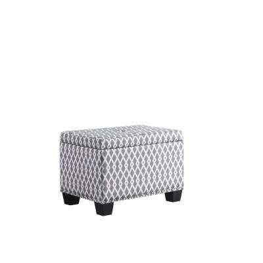 17 in. Gray/White Diamond Storage Ottoman with 1-Storage Seating