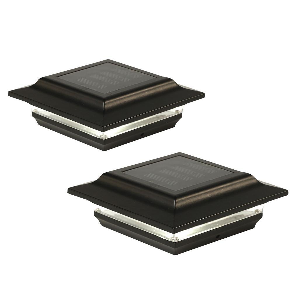 5 in. x 5 in. Outdoor Black Cast Aluminum LED Solar Post Cap (2-Pack)