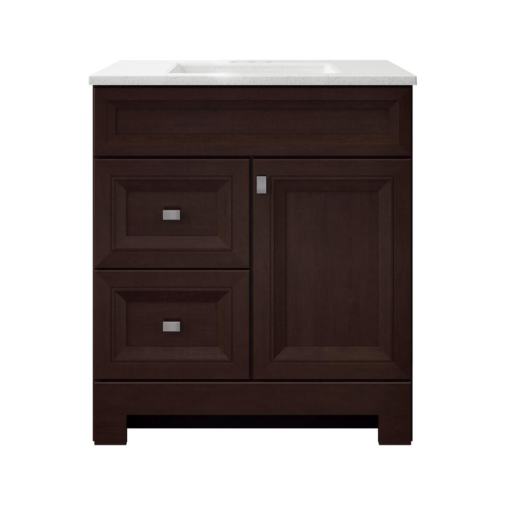 Home Decorators Collection Sedgewood 30-1/2 in. W Bath Vanity in Dark Cognac with Solid Surface Technology Vanity Top in Arctic with White Sink