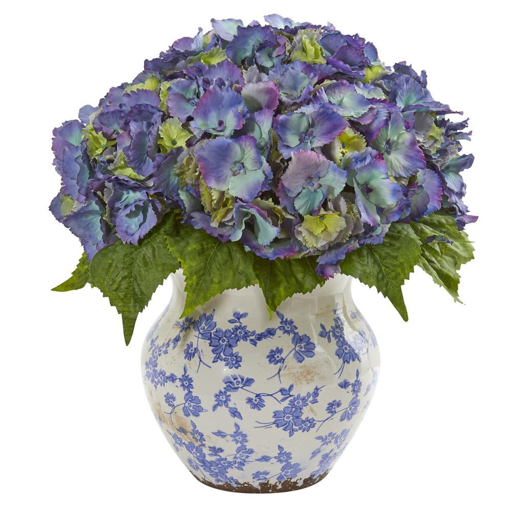 Indoor Hydrangea Artificial Arrangement in Large Floral Vase