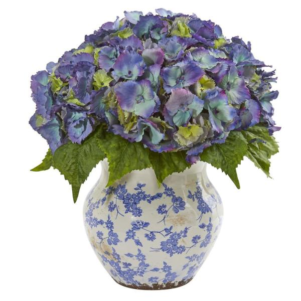 Nearly Natural Indoor Hydrangea Artificial Arrangement in Large Floral Vase