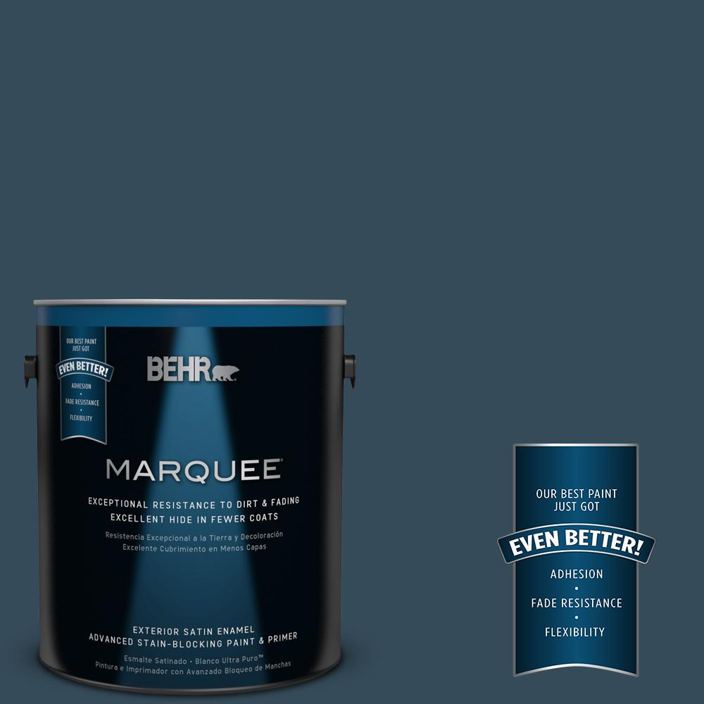 BEHR MARQUEE Home Decorators Collection 1-gal. #HDC-CL-28 Nocturne Blue Satin Enamel Exterior Paint